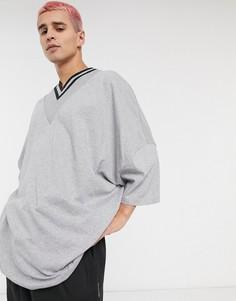 Серая длинная свободная меланжевая футболка ASOS DESIGN-Серый