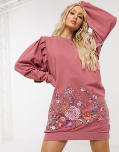 Розовое платье-свитшотминис вышивкой ASOS DESIGN-Черный