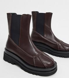 Эксклюзивные байкерские ботинки из искусственной кожи шоколадного цвета Z_Code_Z-Коричневый
