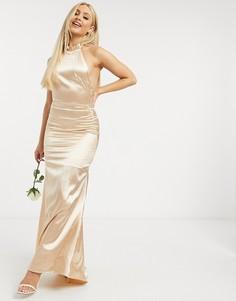 Платье макси цвета шампанского TFNC Bridesmaid-Золотой
