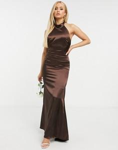 Шоколадноеатласное платье максис халтером и годе TFNC Bridesmaid-Коричневый