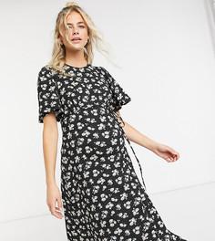 Черное платьемидис рукавамиклеш New Look Maternity-Черный