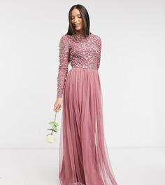 Розовое платье макси с пайетками, длинными рукавами и фатиновой юбкой Maya Tall-Розовый