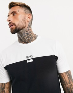 Черно-белая футболка с логотипом BOSS 6-Черный