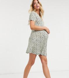 Чайное платье мини с цветочным принтом ASOS DESIGN Maternity-Черный