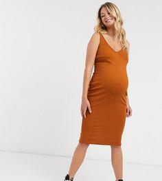 Облегающее платье миди карамельного цвета ASOS DESIGN Maternity-Коричневый