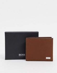Светло-коричневый кожаный бумажник BOSS Crosstown