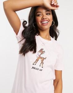 Розовая oversize-футболка с новогодними мотивами Skinny Dip-Розовый Skinnydip