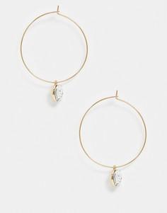 Золотистые серьги-кольца с подвескамиFrench Connection-Золотой