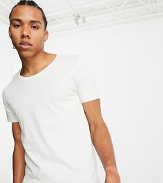 Бежевая футболка с овальным вырезомASOS DESIGN Tall-Бежевый