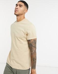 Бежевая футболка с отворотами на рукавах ASOS DESIGN-Бежевый