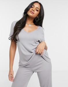 Комплект из футболки Missguided и расклешенных брюк серого цвета-Серый
