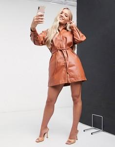 Платье-рубашка в стиле oversized коричневого цвета Saint Genies-Светло-коричневый