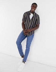 Рубашкав вертикальную полоскус короткими рукавамиFred Perry-Темно-синий