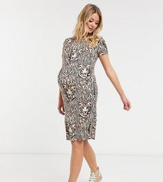 Платье миди с тигровым принтом Mamalicious-Белый Mama.Licious