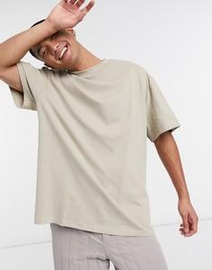 Темно-бежевая футболка Weekday-Бежевый