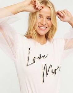 """Розовая футболка с сетчатыми рукавами и надписью """"love more"""" River Island-Розовый"""