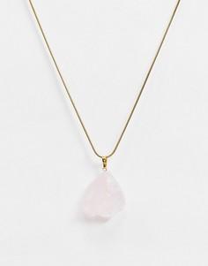 Ожерелье с розовым кварцем Aura by Calum Best-Золотой