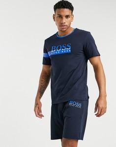 Комплект в стиле casual из шорт и футболки BOSS-Синий