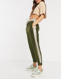 Сатиновые джоггерыцвета хакисо шнурком Only-Зеленый