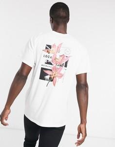 Белая футболка с цветочным принтом Topman-Белый
