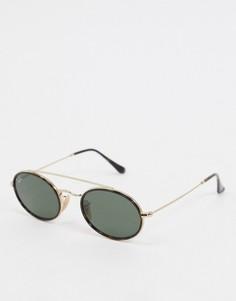 Черно-золотистые овальные солнцезащитные очки Rayban-Черный