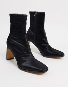 Черные ботинки на каблуке с рисунком кожи ящерицы Pimkie-Черный