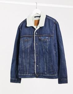 Вельветовая куртка на подкладке из искусственного меха Levis type 3-Синий