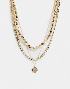 Золотистое ожерелье в несколько рядов с подвеской из жемчуга и монеты ASOS DESIGN-Золотой