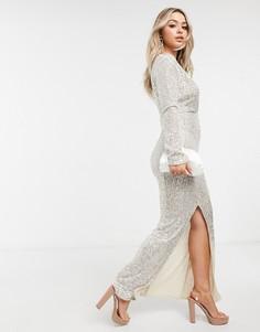 Серебристое платье макси с глубоким вырезом и пайетками I Saw It First-Серебряный