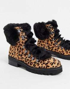 Ботинки с искусственным мехом и леопардовым рисунком Aldo-Коричневый