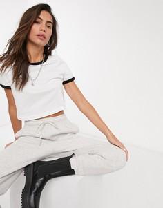 Черно-белая футболка с отделкой Topshop-Белый
