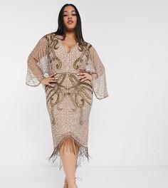 Платье миди с широкими рукавами и вышивкой бисером ASOS DESIGN Curve-Коричневый