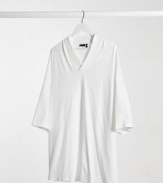 Белая футболка в стиле oversized с v-образным вырезом ASOS DESIGN Plus-Белый