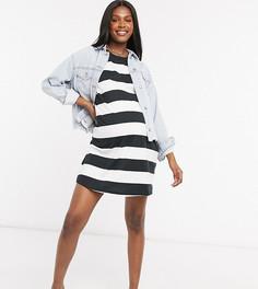Платье-футболка в стиле oversized в черную/белую полоску ASOS DESIGN Maternity-Черный