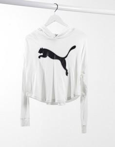 Худи-накидка белого цвета с большим логотипом Puma-Белый