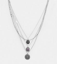 Многорядное серебристое ожерелье Reclaimed Vintage inspired-Серебряный