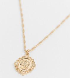 Золотистое ожерелье с подвеской «Святой Христофор» Reclaimed Vintage Inspired-Золотой
