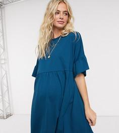 Темно-синее свободное oversized-платье для беременных с рукавами-оборками ASOS DESIGN-Синий