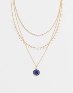 Золотистое ярусное ожерелье с синим камнем ASOS DESIGN-Золотой