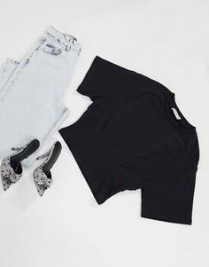 Черная футболка с отделкой на поясе NA-KD-Черный