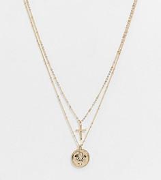 Эксклюзивное золотистое ожерелье в несколько рядов DesignB London Curve-Золотой