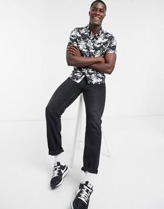 Черная рубашка с короткими рукавами и принтом тай-дай Topman-Черный