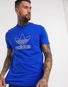 Синяя футболка с логотипом-трилистником adidas Originals-Синий