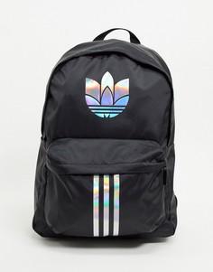 Рюкзак черного/серебристого цвета с логотипом-трилистником adidas-Черный