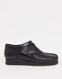 Черные кожаные туфли wallabee Clarks Originals-Черный