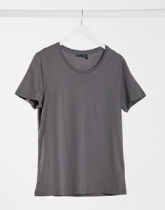 Черная выбеленная футболка с овальным вырезом ASOS DESIGN-Серый