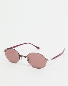Фиолетовые узкие овальные солнцезащитные очки без оправы Rayban-Фиолетовый