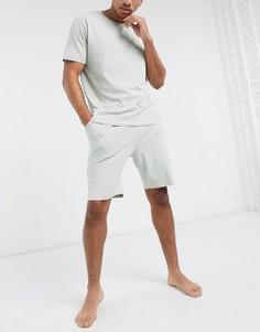 Светло-серая пижама из футболки и шортов ASOS DESIGN-Серый