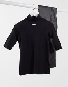 Черная футболка с воротником-поло и логотипом по центру Hummel-Черный